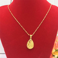 FASHION CLASSIC THAILAND 14K GOLD NECKLACE FOR WOMEN'S WEDDING ENGAGEMENT JEWELRY DELICATE PEACOCK FEATHER PENDANT GOLD JEWELRY