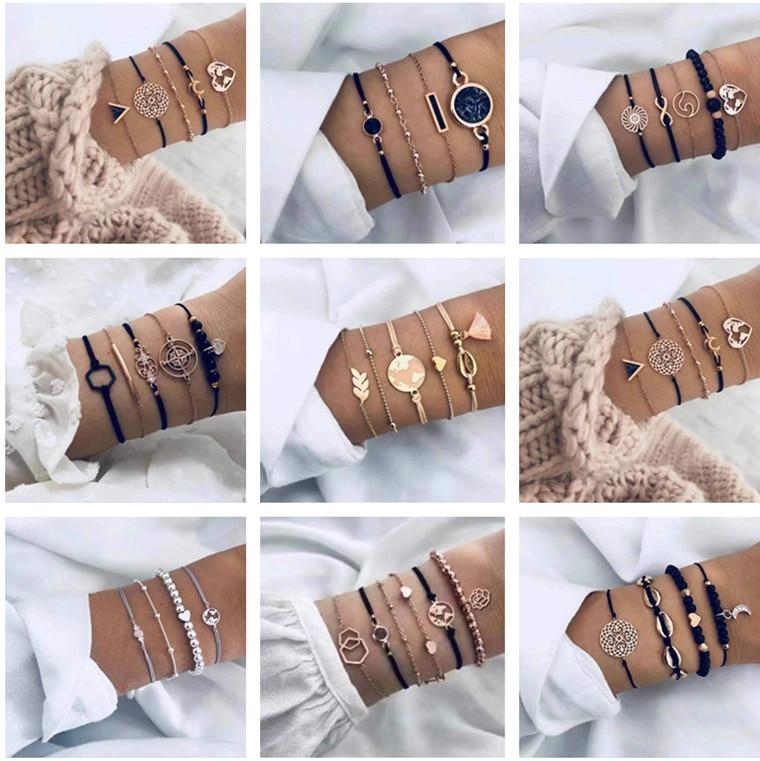 20 Styles Women Girls Mix Round alloy Crystal Marble Charm Bracelets Fashion Boho Heart Shell Letter Bracelets Sets Jewelry Gift