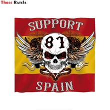 Three ratels FTC-753#14x12.8cm hells angels sticker support 81 spain flag window motorcycle car sticker decal pvc waterproof(China)