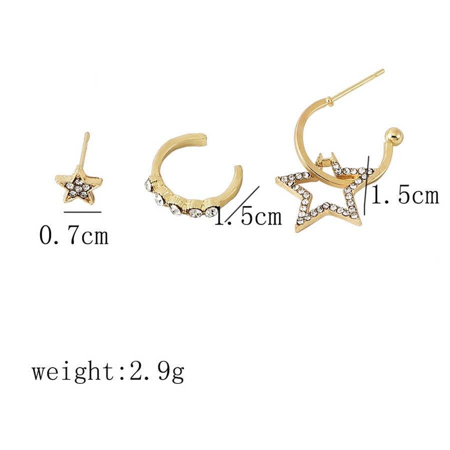 Starbeauty 4 pcs/lot Gold Color Stars Rhinestone Earrings Set Ear Piercing Helix Earrings Studs Fake Piercing Nose Ring Jewelry