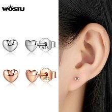 Boucles d'oreilles en argent Sterling 100% et or Rose pour femmes, bijoux authentiques, petits cœurs, XCHS440