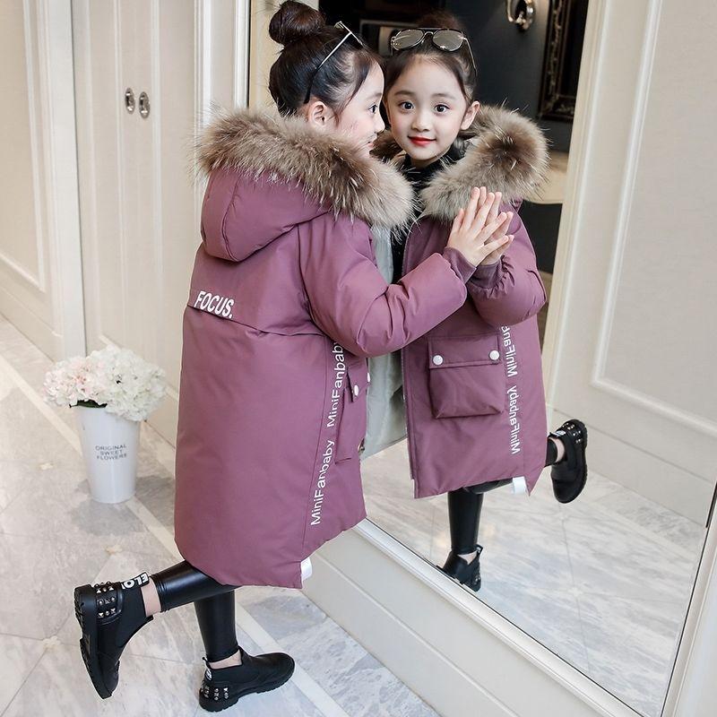 Детская зимняя пуховая хлопковая куртка 2019 г. Новая модная одежда для девочек детская одежда толстая парка зимний комбинезон с меховым капюшоном, верхняя одежда, пальто