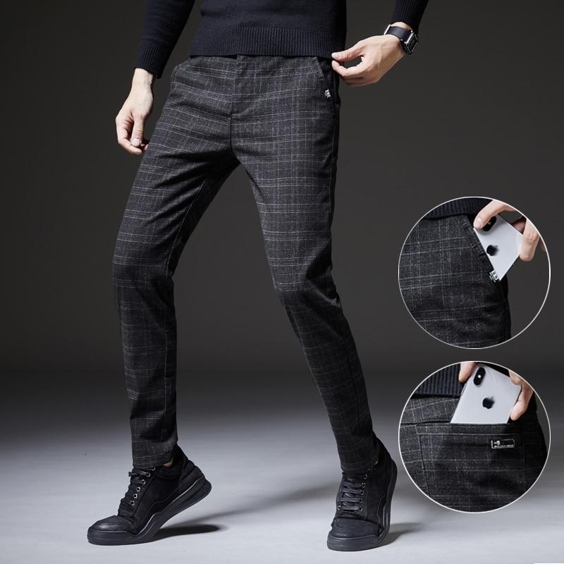 YASUGUOJI Winter Thick Suit Pants Men Slim Fit Fashion Plaid Dress Pants Plus Size Business Formal Wear Mens Trousers Party Pant