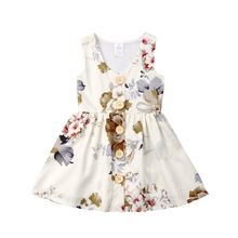 Infant Kids Big Little Sister Baby Girls Summer Dress Matching Outfits Sleeveless Floral Printed Princess Dresses 6M-5Y