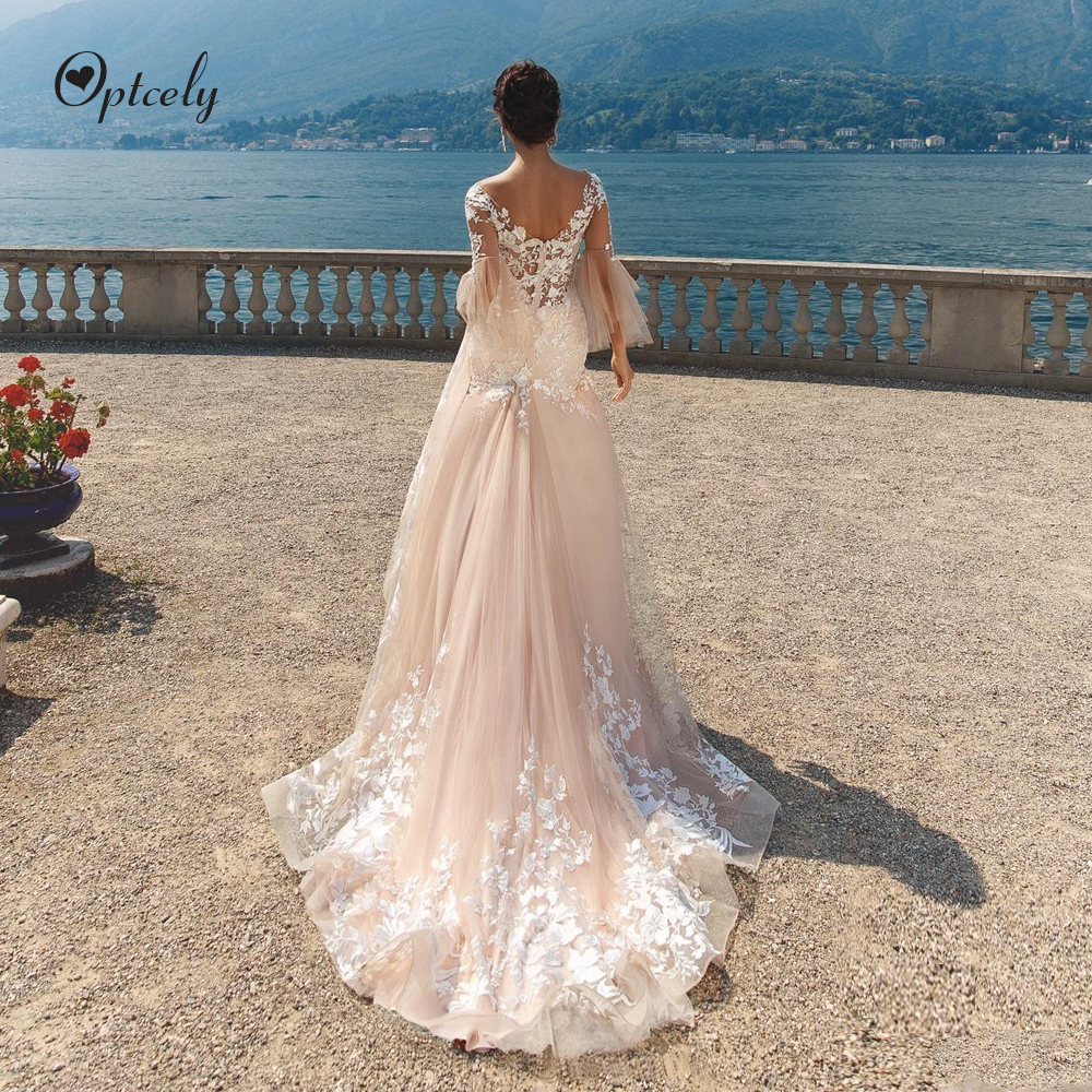 Optcely Fascinating Flare Half Sleeves Champagne A-Line Deep V-Neck Wedding Dresses 2019 Appliques Beading Sweep Train Plus Size