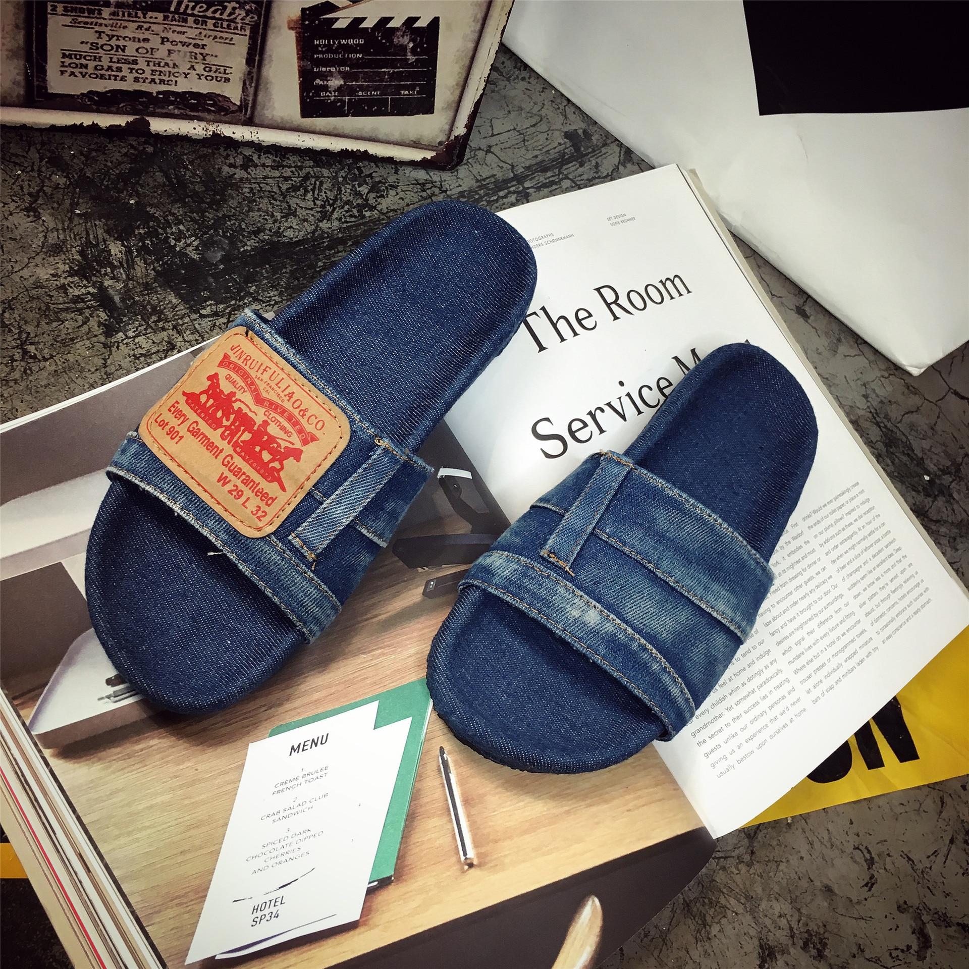 2019 sandalias de mezclilla nueva palabra zapatillas de mezclilla lavadas viejos zapatos planos de mujer casual sandalias salvajes Zapatos KATELVADI, sandalias de gladiador negras para mujer, sandalias de verano para mujer, Sandalias de tacón alto de 8CM con correa en el tobillo, sandalias para mujer, K-317