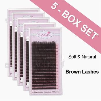 Yelix mixd Dark Brown Faux Mink Eyelashes Natural False Individual Eye Lashes Colored Eyelash Extension Fake Lash Set For Makeup