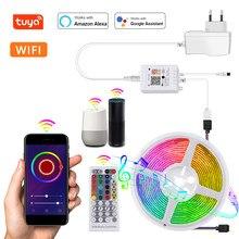 La lumière de bande de LED intelligente de Tuya WiFi 12V rvb 5050SMD fonctionnent avec la bande Flexible de lumières de LED de bande de ruban de contrôle vocal à la maison d'alexa Google