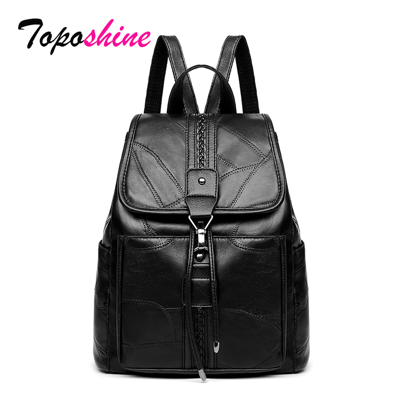 Toposhine Sheepskin Women Backpacks Mochila Luxury Simple String Large Capacity Leisure Travel Girls