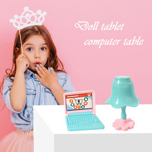 Give Children Best Enlightenment Toy Gift Mini Doll House Plastic Laptop Computer Desk Lamp Set Simulation Doll Accessory