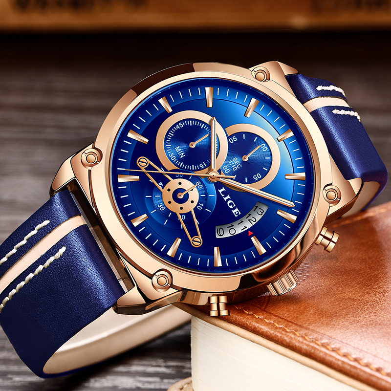 LIGE New Men's Watch Chronograph Analog Quartz Watch Date Creative Dial Blue Leather Strap Waterproof Wrists Watch Reloj Hombre