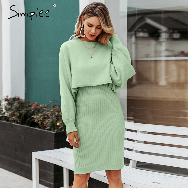 Women Dresses Sale Women Autumn and Winter Sweater Long Bag Hip Waist Sweater Dress Plus Size Dress Party Elegant Dress Work Dresses UK Size