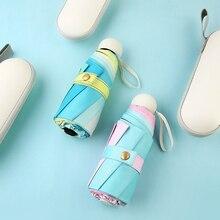 Parasol Umbrellas Mini Pocket Women Sun-Protect Rain Small Girls Gradient-Colors Windproof