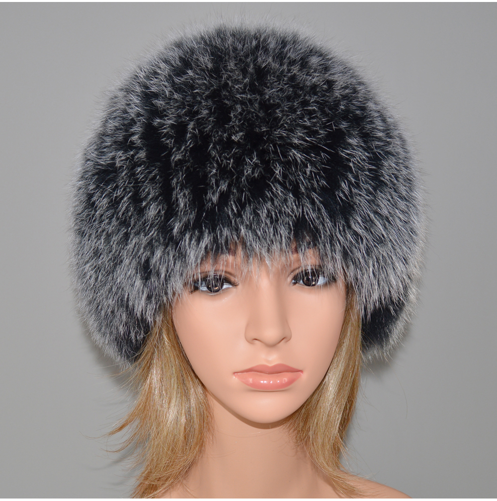 He15d1d95611445e59490cc9565c161d1f - New Luxury 100% Natural Real Fox Fur Hat Women Winter Knitted Real Fox Fur Bomber Cap Girls Warm Soft Fox Fur Beanies Hats