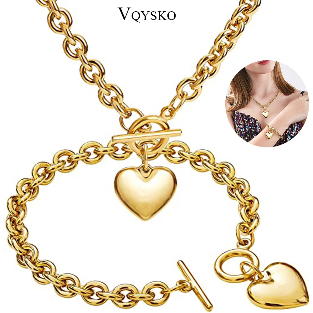 Love Heart Necklace and Bracelet Jewelry Sets for Women Gift Stainless Steel Engagement Wedding Party Chain Set Jewelry Fashion