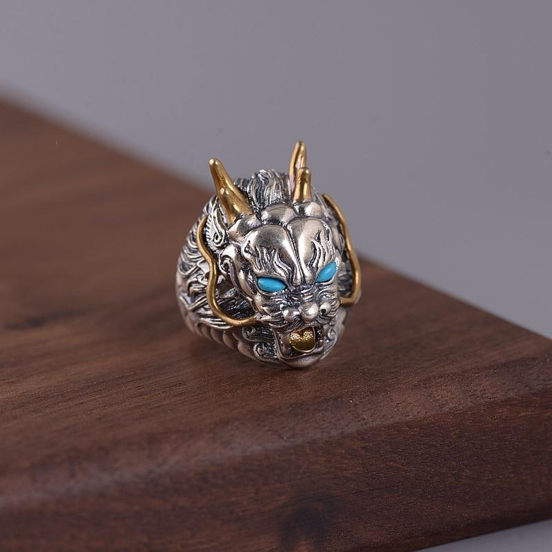 FNJ Agate rouge Dragon anneaux 925 argent taille réglable ouvert S925 solide bague en argent pour les femmes bijoux rond pierre Animal - 4