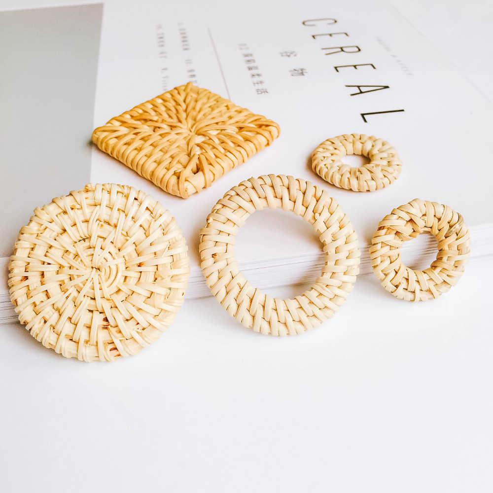รอบรูปไข่ Pure ไม้ไผ่ Diy Handmade วัสดุอุปกรณ์ต่างหูส่วนประกอบจี้สร้อยคอเครื่องประดับ 1pcs
