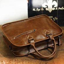 Xiao.p Crazy Horse PU Leather Briefcase handbag Men Vintage 13inch Big Laptop Backpack Fashion Brown Messenger Shoulder Bag Man