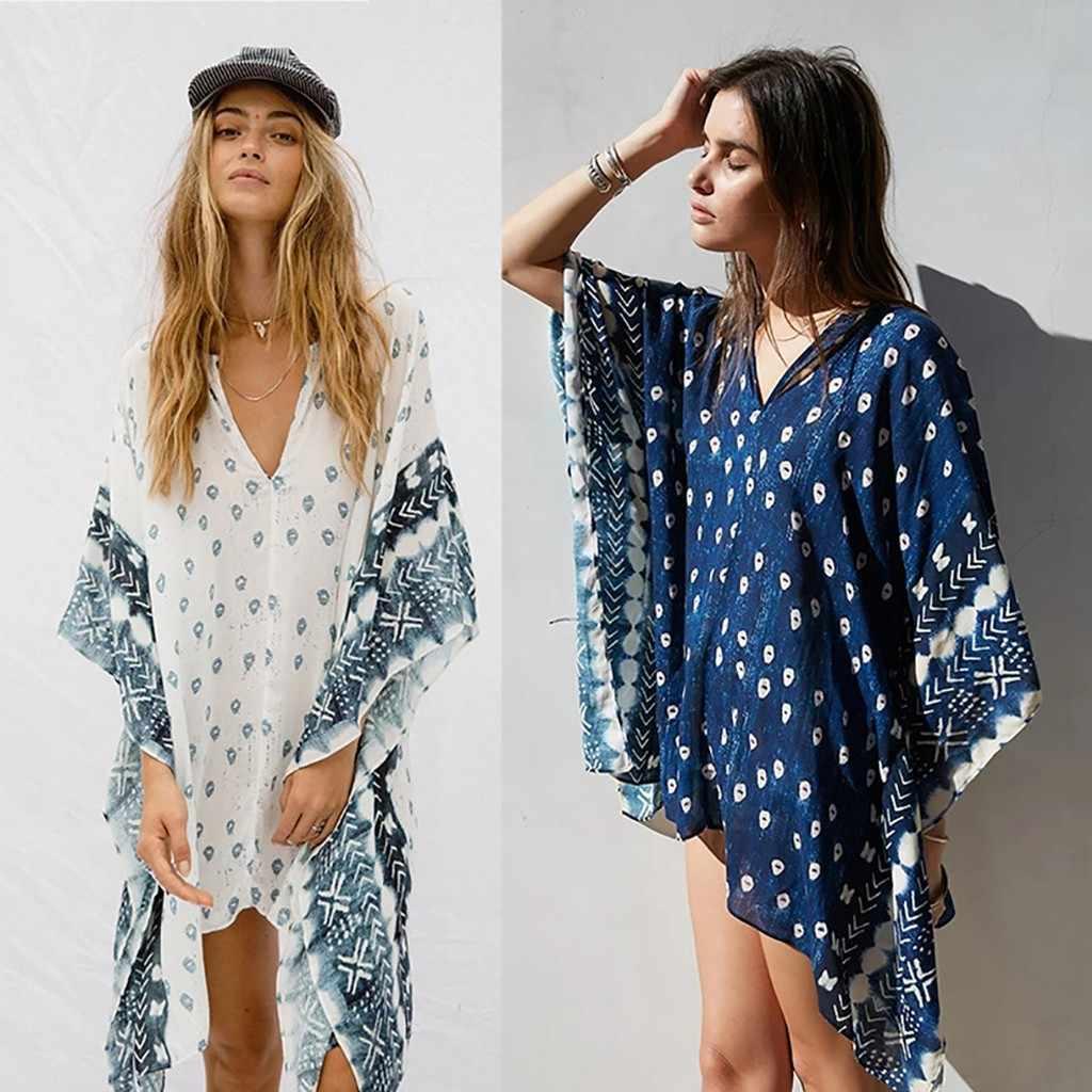 Womens V-Neck Batwing Cover Up Tops Swimwear Lace Floral Kaftan Beach Mini Dress