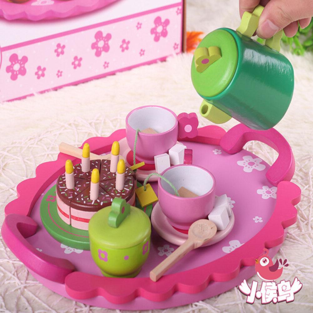 Kitchien Toy Wooden Snack Afternoon Tea Children's Play House Toy Wooden Tea Pretend Toy Cake Toy