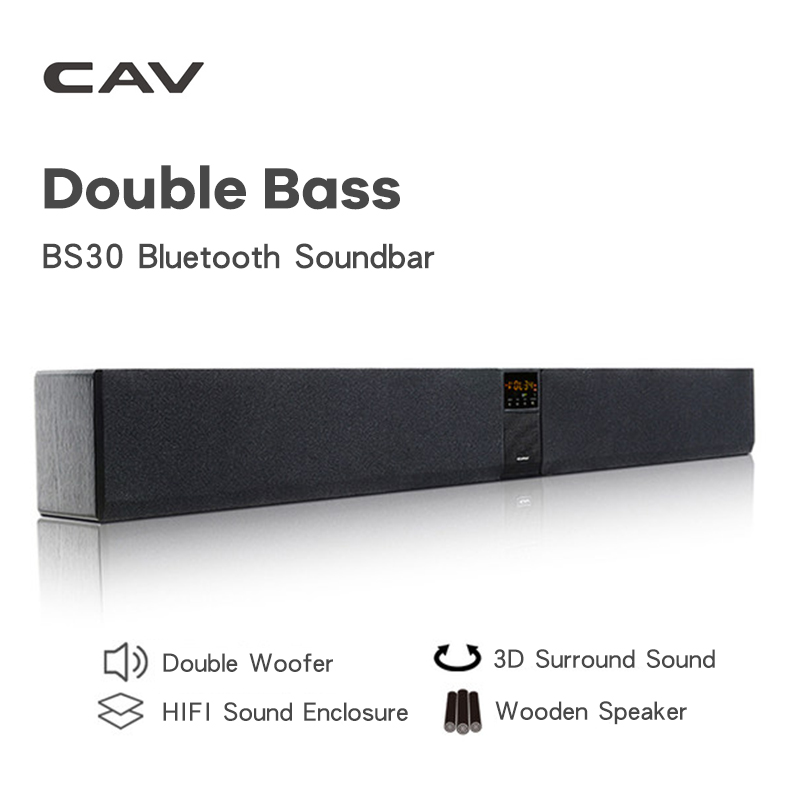 CAV BS30 Bluetooth Soundbar Column Dual Subwoofer Speaker Home Theater DTS Surround Sound System Hang Wall Built-in 3D Stereo