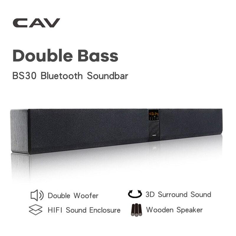 Cav-bs30 coluna de soundbar bluetooth subwoofer duplo alto-falante de cinema em casa dts sistema de som surround pendurar parede embutido 3d estéreo