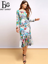 Baogarret Autumn Fashion Runway Long Sleeve Dress Womens Elegant Ruffles Floral Print Midi Mermaid Party Bodycon Dresses