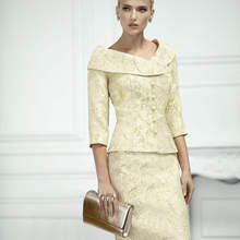 Jacket Bride-Suits Wedding for of The Outfit Pale Yellow Skirt Brocade Tailor-Shop And