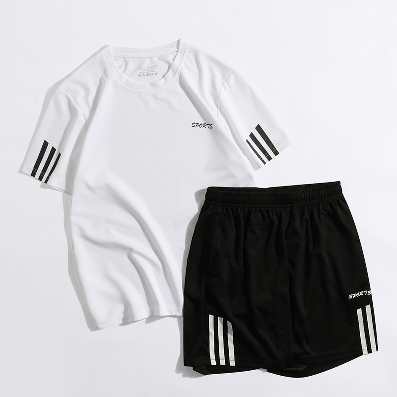 New Striped Jogging Suits Gym Sport T Shirt Men Short Sleeve Running T-Shirt And Short Pants Quick Dry Bodybuilding Set