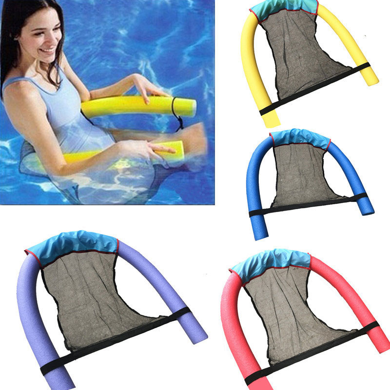 Swimming Floating Chair Kids Adult Pool Deck Chair Water Flodable Ring Float Lightweight Beach Ring Noodle Net Pool Accessories