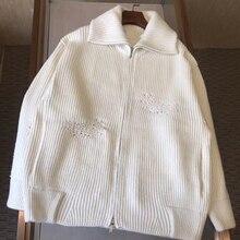 Осенне-зимняя женская белая куртка, Элегантная куртка с длинным рукавом, Женская свободная однотонная куртка на молнии, пальто