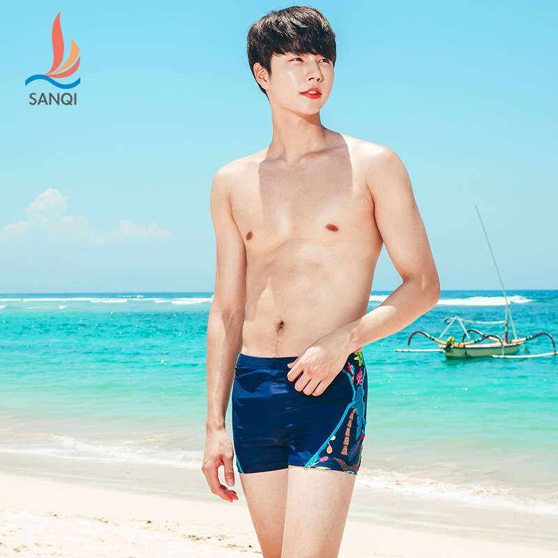 Manufacturers Direct Selling Sanqi Swimming Trunks Men Boxer Fashion Models Beach Loose-Fit Sexy Low Waist Hot Springs Large Siz