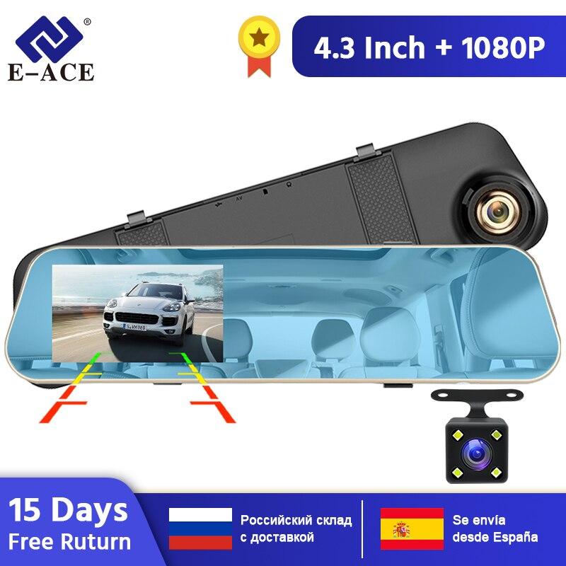 E-ACE A10 Heißer Volle HD 1080P Auto Dvr Kamera Auto 4,3 Inch Rückspiegel Digital Video Recorder Dual Objektiv registratory Camcorder