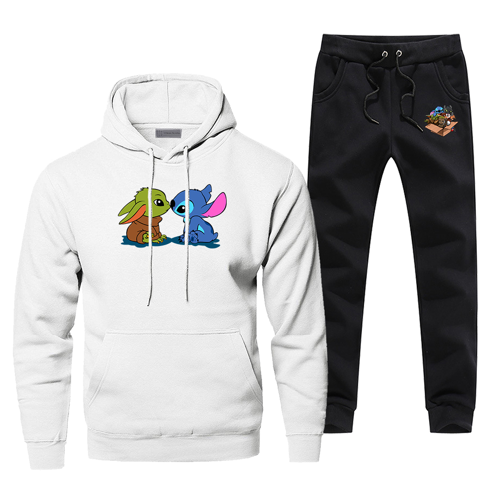 Cute Baby Yoda Stitch Tracksuit Men's Sportswear Sets 2 Piece The Mandalorian Star Wars Sweatshirt + Sweatpants 2020 Spring Set
