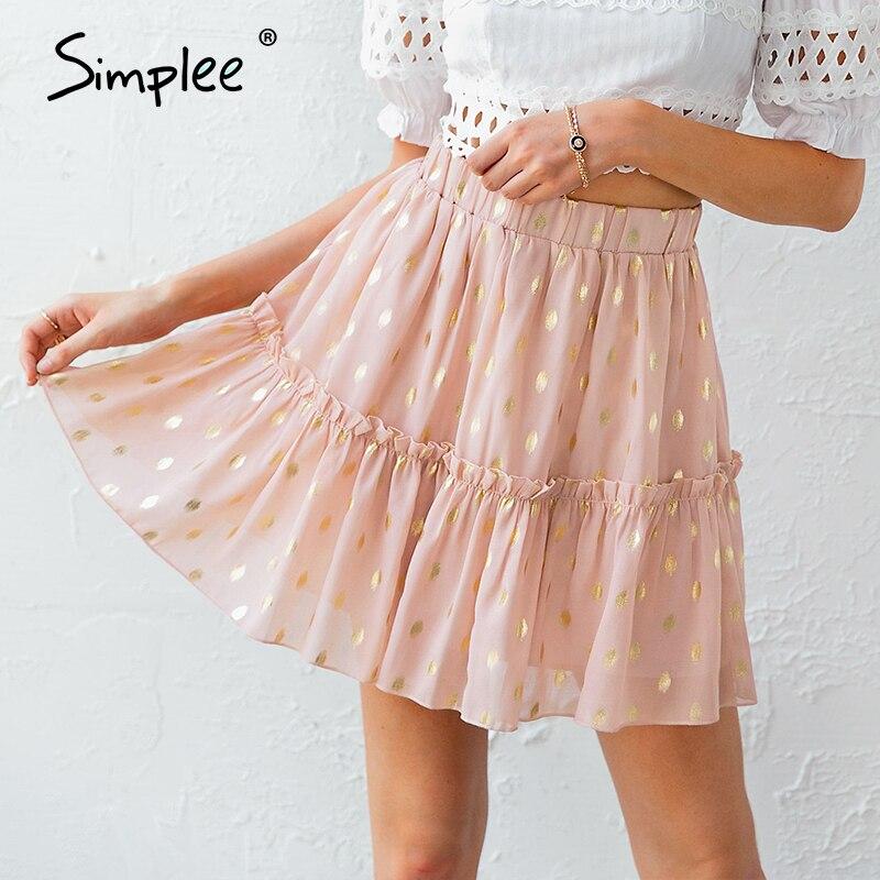 Simplee Sexy Dot Print Ruffle Women Skirt Summer Style A Line Female Mini Skirts Casual Beach Pink Ladies Chiffon Skirts 2020