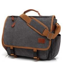 Винтажный Холщовый кожаный портфель для ноутбука для мужчин чемодан дорожная сумка мужская деловая сумка-тоут мужская сумка-мессенджер сумка на плечо XA200ZC