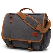 Винтажный Холщовый кожаный портфель для ноутбука для мужчин, дорожная сумка, мужская деловая сумка-тоут, мужские сумки-мессенджеры, сумка н...
