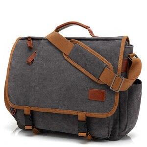 Image 1 - Vintage Canvas Briefcase Men Laptop Suitcase Travel Handbag Men Business Tote Bags Male Messenger Bags Shoulder Bag 2020 XA200ZC