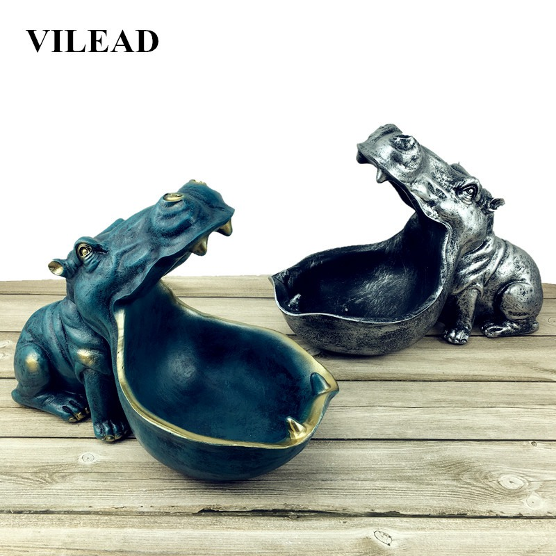 VILEAD Resin Hippopotamus Statues Morden Home Decoration Gifts Decor Accessories Hippo Living Room Creative Decorations