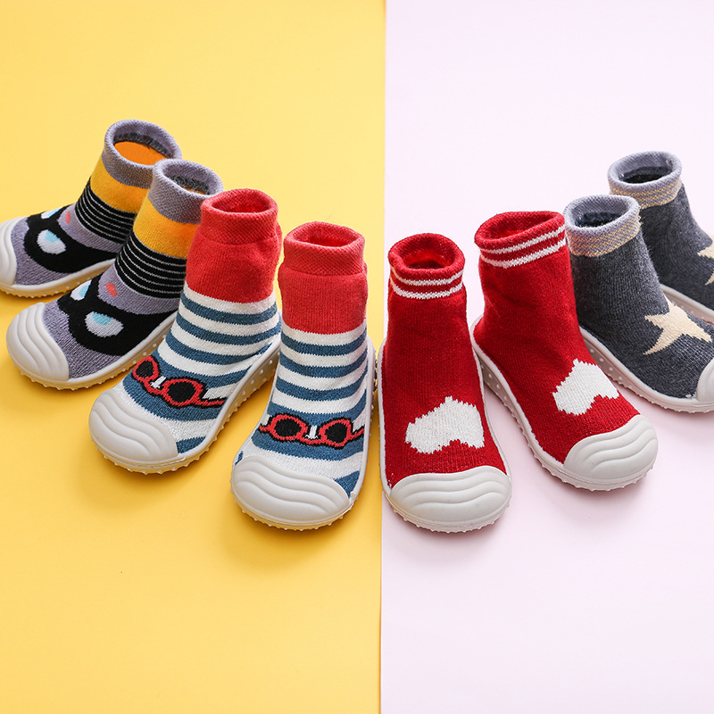 Kids Baby Socks Shoes Kids Floor Socks Soft Bottom Non-Slip Floor Toddler Girl Boy Newborn Enfant Shoes Socks With Rubber Soles