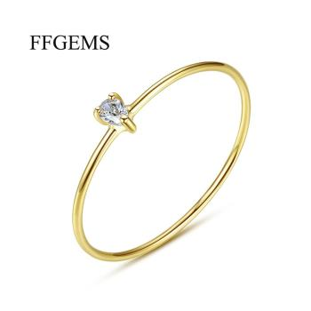 Elegant 100% 10K Gold Sterling Moissanite with certificat Rings Pear cut2*3MM Fine Jewelry For Women girl Wedding gift Engagemen image