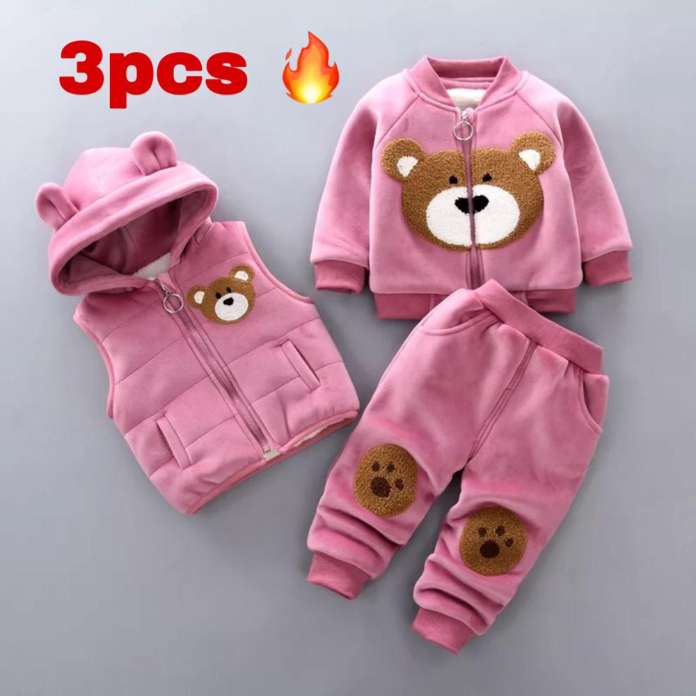 Winter cotton warm clothes cartoon printing plus velvet thick sweater baby boy girl baby clothes hooded vest vest 3-piece set