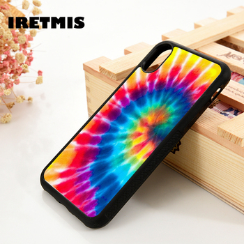 Iretmis 5 5S SE 6 6S Soft TPU Silicone Rubber phone case cover for iPhone 7 8 plus X Xs 11 Pro Max XR Tie Dye