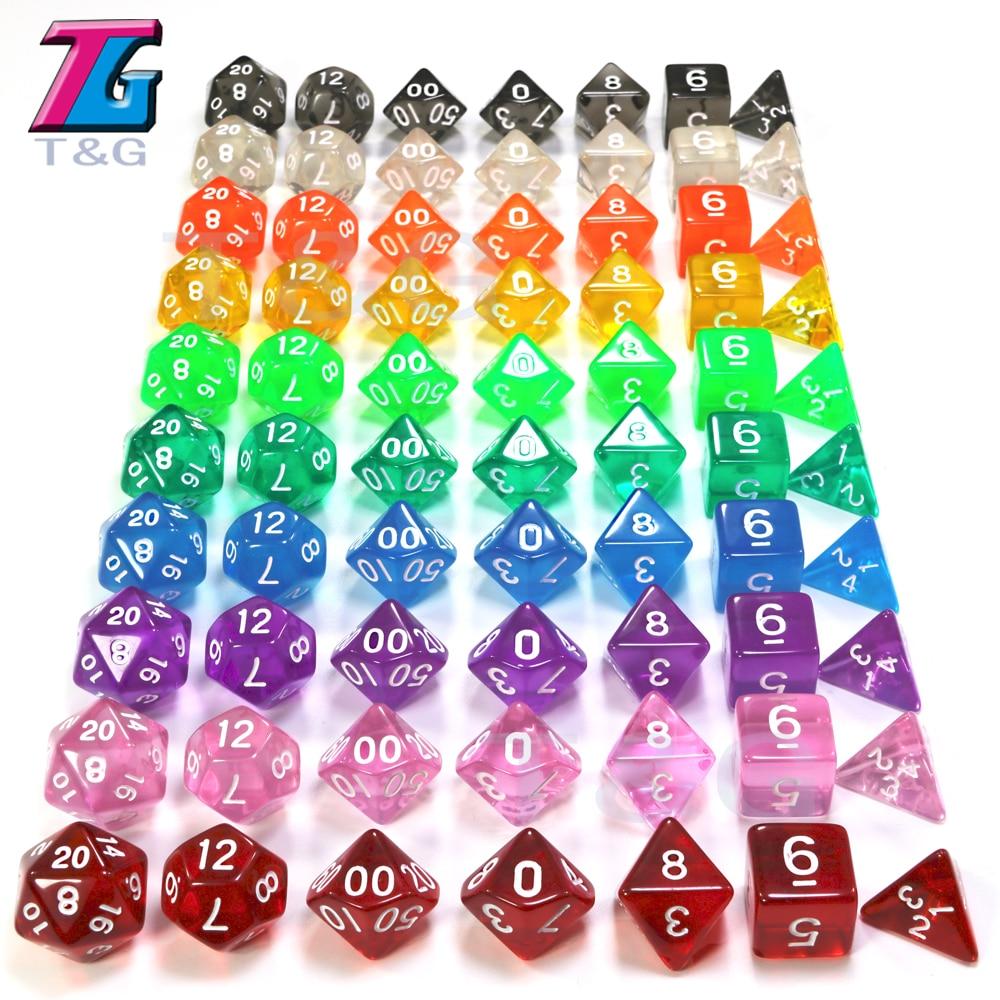 7pc/lot High Quality Blue Transparent Dice D4,6,8,10,10%,12,20 Set Roll A