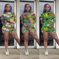 Женские спортивные костюмы из двух предметов с мультяшным принтом 2021, футболка, топ, шорты, костюм для бега, спортивный костюм для фитнеса, н...
