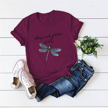 S-5XL Plus Size T-Shirt New Dragonfly Print T Shirt 100%Cotton TShirt Women O Neck Short Sleeve Tees Summer Women Shirts Fashion