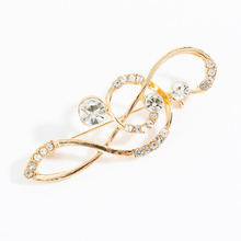 Brooch-Pin Clothes-Accessories Rhinestone Music Costume Jewelry Gifts Crystal Metal Korean