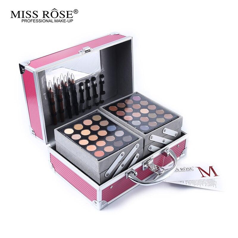 Maquillaje Profesional Miss Rose Maquillaje facial en polvo Set paleta de sombra de ojos Blocker caja de Maquillaje Kit resaltador bronceador regalo