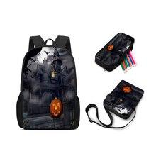 Настраиваемый школьный детский 3-х Рюкзак школьный Хэллоуин детские сумка карандаш сумка