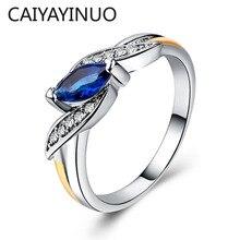 Cellacity na moda prata 925 anel de jóias para mulher em forma de azeitona pedras preciosas rubi ametista esmeralda safira size6, 7,8,9,10 festa